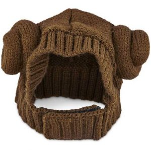 A snood-like knitted dog hat